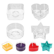 20 pcs Plastic Clear Candle Cup Holders Heat-Resistant Plastic Votive Containers Heart Square Star Round Shapes DIY Candle Maker