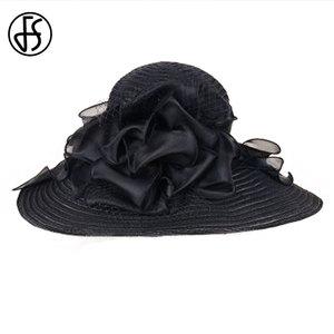 Image 5 - Fsブラックホワイトエレガント女性教会の帽子夏の花大つば帽子ビーチ日ケンタッキーダービー帽子fedora