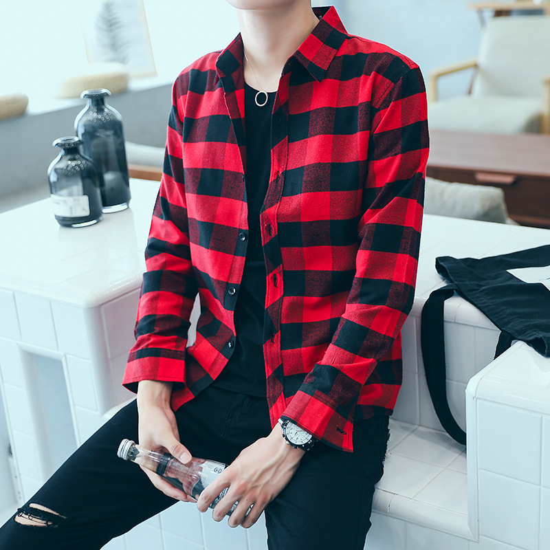 Spring And Autumn Long Sleeve Plaid Shirt Men Teenager Korean-style Slim Fit Shirt Casual Students Hair
