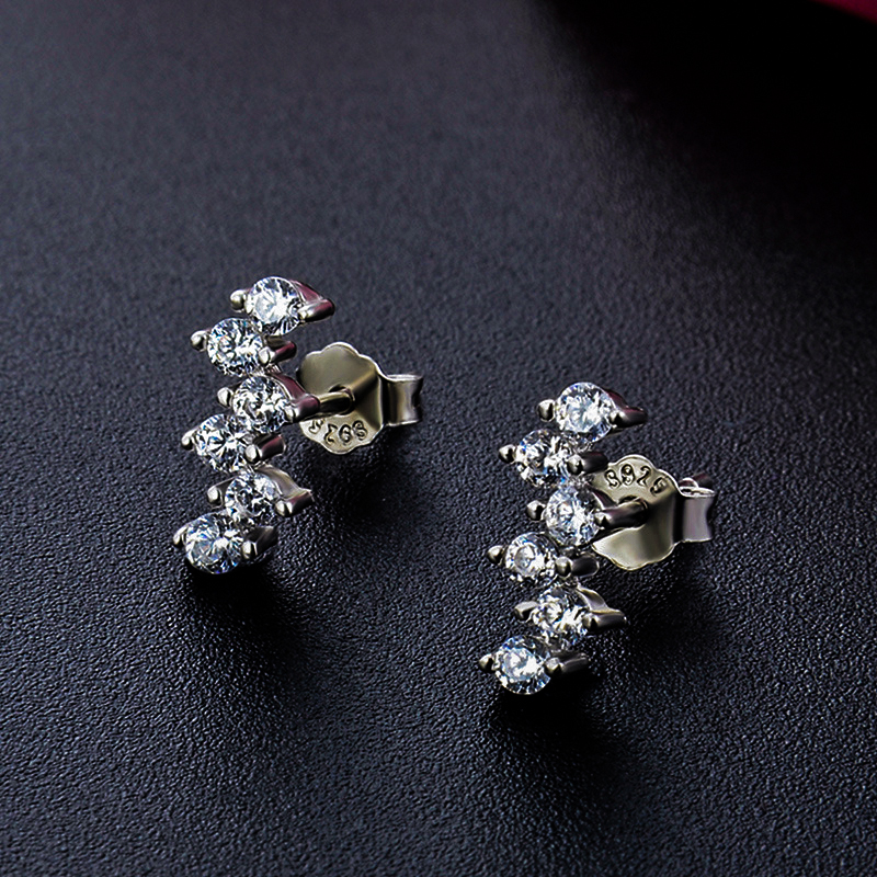 Luxury Female Small Lab Diamond Stud Earrings 100% Real Solid 925 Sterling Silver Earrings For Women Boho Love Wedding Earrings