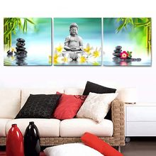 Wall Painting 3Panel Stone Flower Buddha Statue Living Room Sofa Wall Art Printing Art Framework Modular Pictures Canvas COLOMAC(China)