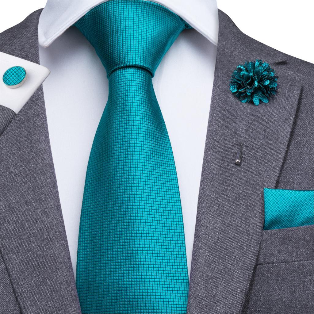 Men Silk Tie Solid Blue Necktie Stripe For Wedding Business Gift Box Tie Set Boutonniere Pocket Square Cufflinks Cravat Hi-Tie