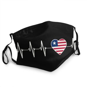 Liberian Heartbeat I Love Liberia Country Flag Heart Family Mask Dustproof Washable Face Mask Cover Men Respirator Mouth Muffle image