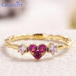 Cellacity gümüş 925 takı yüzük ile kalp şekli kırmızı korindon taş lüks güzel takı kadınlar için boyutu 6- 10
