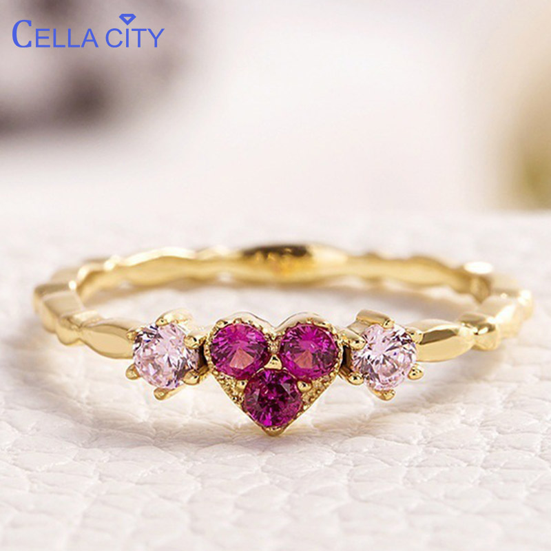Cellacity Silver 925 Jewelry Ring With Heart Shape Red Corundum Gemstone  Luxury Fine Jewelry For Women Wholesale Size 6-10