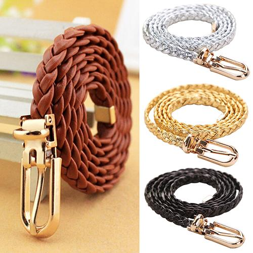 Women Braided PU Leather Narrow Thin Buckle Strap Waist Belt All-Match Waistband