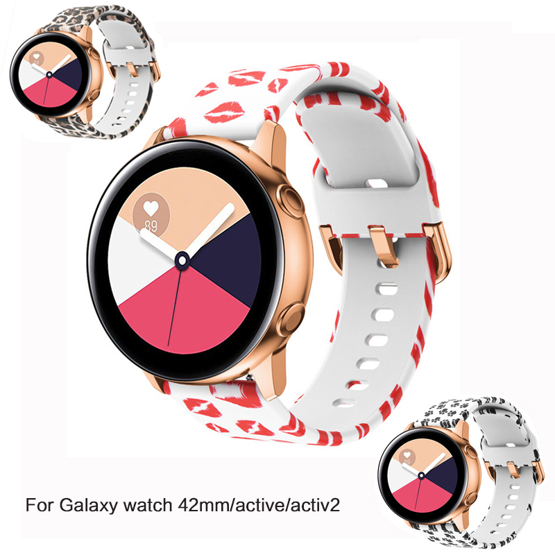 20mm Watch Strap For Samsung Galaxy Watch Active 2/42mm Gear S2/Sport Band Printed Silicone Bracelet Amazfit Bip