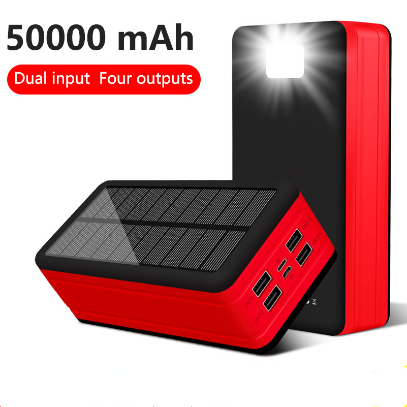 <font><b>Power</b></font> <font><b>Bank</b></font> <font><b>50000mAh</b></font> <font><b>Solar</b></font> <font><b>Power</b></font> <font><b>bank</b></font> 4 USB Portable External Battery Phone Charger With LED Light For iPhone X Xiaomi PoverBank image