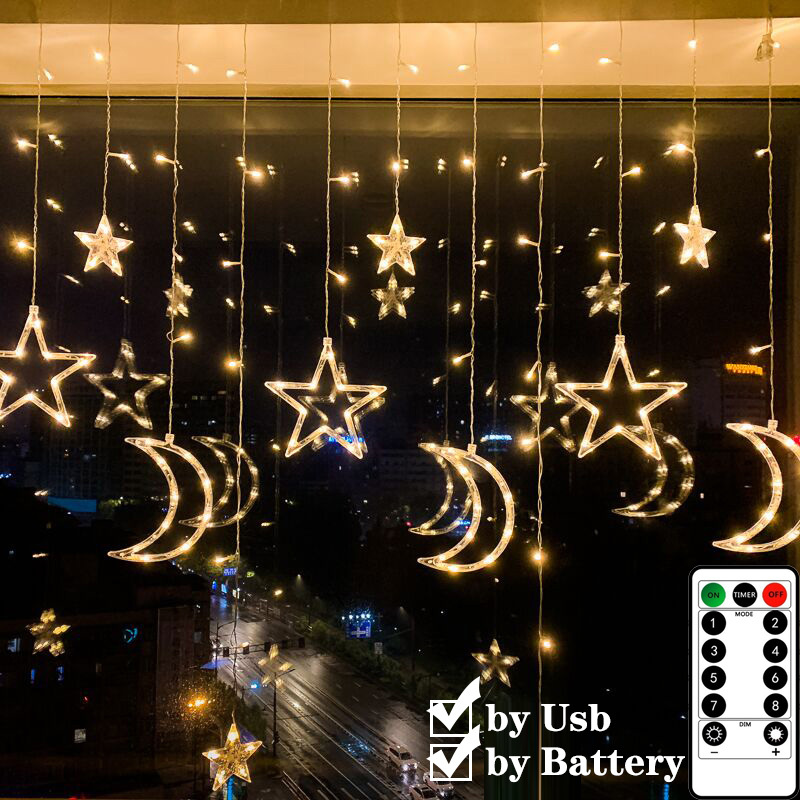 USB Curtain Lights LED Moon Stars Shape String Lights with Remote Control Battery Box for Home Room Window Garland Holiday Light