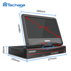 Techage 8CH 1080P 48V POE NVR 10.1