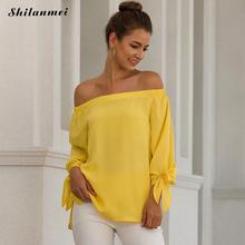 Yellow Off Shoulder Blouses 2019 Fashion Loose Tops And Women Long Sleeve Spring Autumn Street Shirts Sexy Blusa Mujer