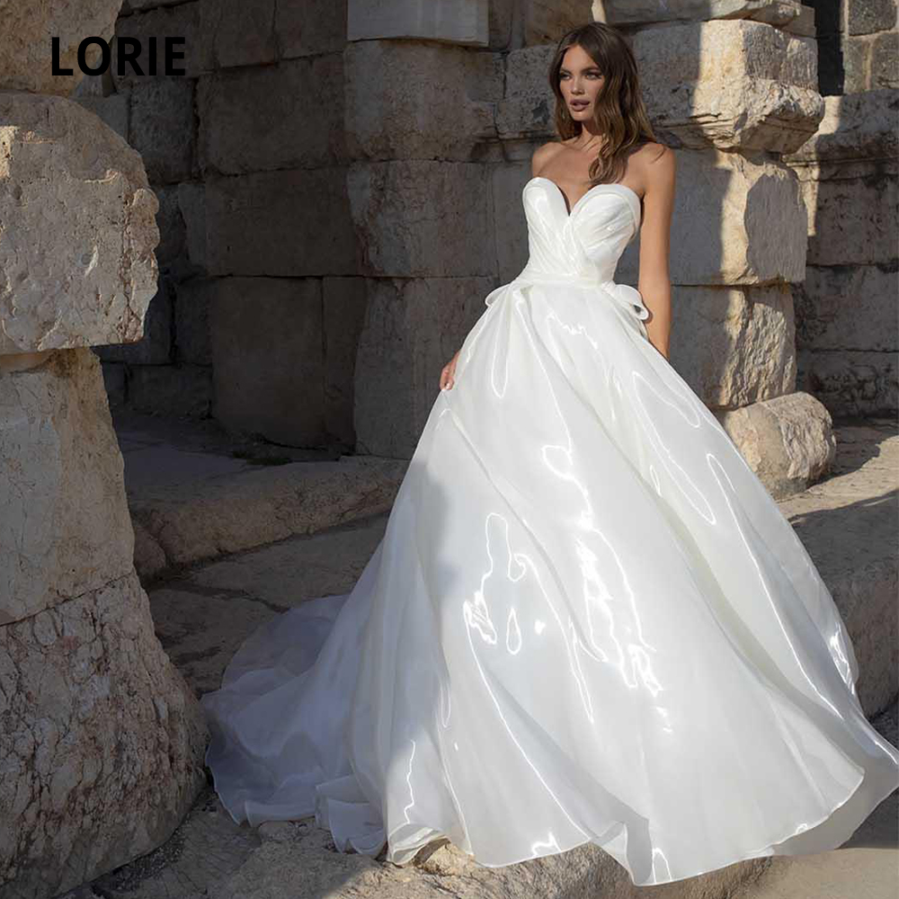 LORIE A Line Wedding Dress Strapless Sleeveless Bow Organza And Tulle Wedding Gowns Court Train Boho Bridal Gowns Plus Size