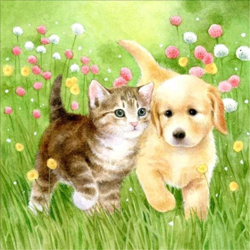 она рисунок про кошек и собак буду