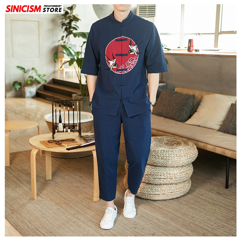 Sinicism Store Men's Sets Printing Chinese Style Tshirts Summer Tracksuit Mens 2020 Loose Buckle Shirt Linen Suit Male Clothes