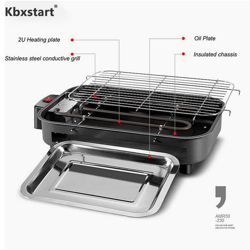 220V Restaurant Electric Grill Griddles Barbecue Portable Churrasqueira Electrica For Home Rotisserie Parrilla Equipment