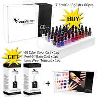 VENALISA 62pcs * 7.5ml Gel Polonês Nail Art Salon Manicure Soak off Base de Atacado Não Pegajoso Topcoat UV LEVOU Verniz Gel Unhas Kits