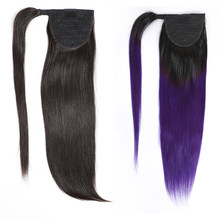 Natural Long Human Hair Wrap Ponytail Piece Clip In Human Hair Extensions Pony Tail Brazilian Straight Bundles Remy 70g-100g(China)