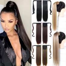 "Woman 22"" Long Straight Pomytail Wig Wavy Curly Pony Tail Clip in Hair Extensions Synthetic Hairpiece Fake Hair 18 Colors"