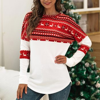 Christmas Tshirts Women 2020 Women Men Couple Christmas Clothes Deer Print Long Sleeve Lady Tops O-n