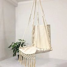 Hammock Chair Macrame Swing Hanging Cotton Rope Hammock Swing Chair for Indoor and Outdoor Use