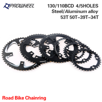 PROWHEEL ROAD Bicycle Chainring 110BCD 130BCD 34/39/50/53T Sprocket Steel/Aluminum Alloy/AL-7075 CNC 8/9/10/11 Speed Chain Wheel image