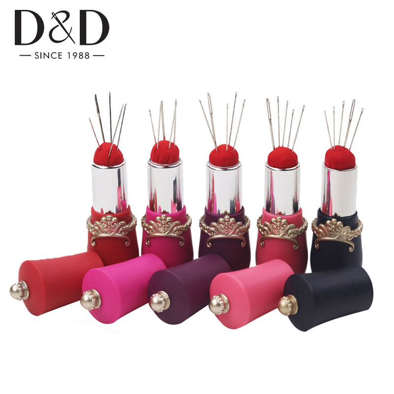 Black Red Color Rota-Table Lipstick Shaped Needle Perfect Storage Pin Cushion Holder Tools for Hand Needlework DIY Craft Black