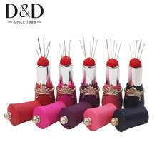 D&D 6 Colors Lipstick Shaped Needles Pin Cushion with 5 Sewing Needles