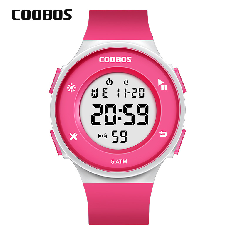 Girls Digital Watches Kids Charming Pink Children's Sports Boys Watch Simple Multi-function 5Bar Waterproof Swimming Wrist Watch
