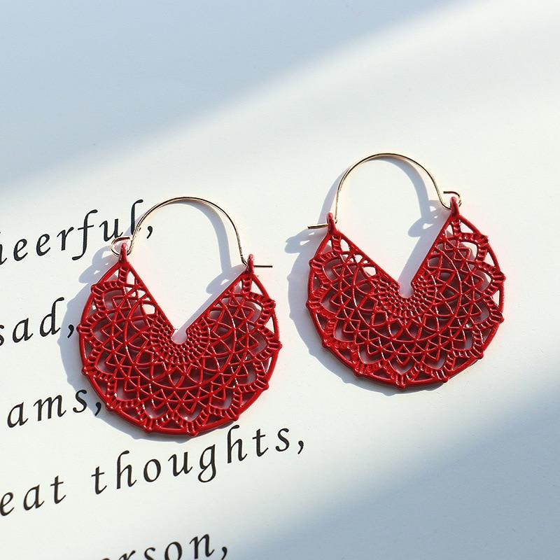 Ethnic Summer Hollow Pink Earrings Flower Boho Jewelry For Women Korean Retro Corful Copper Dangle Earrings Bijoux