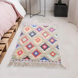 Czernica Tassel bawełna obszar dywan ręcznie tkane Plaid druku diament rzut dywaniki dywan drzwi mata kryty dywaniki do łazienki /sypialnia w Dywany od Dom i ogród na