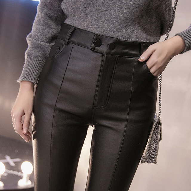 Women Thin Velvet PU Leather Pants 2019 New Female Elastic Stretch Faux Leather Skinny Pencil Pant Tight Trouser Autumn Winter 1