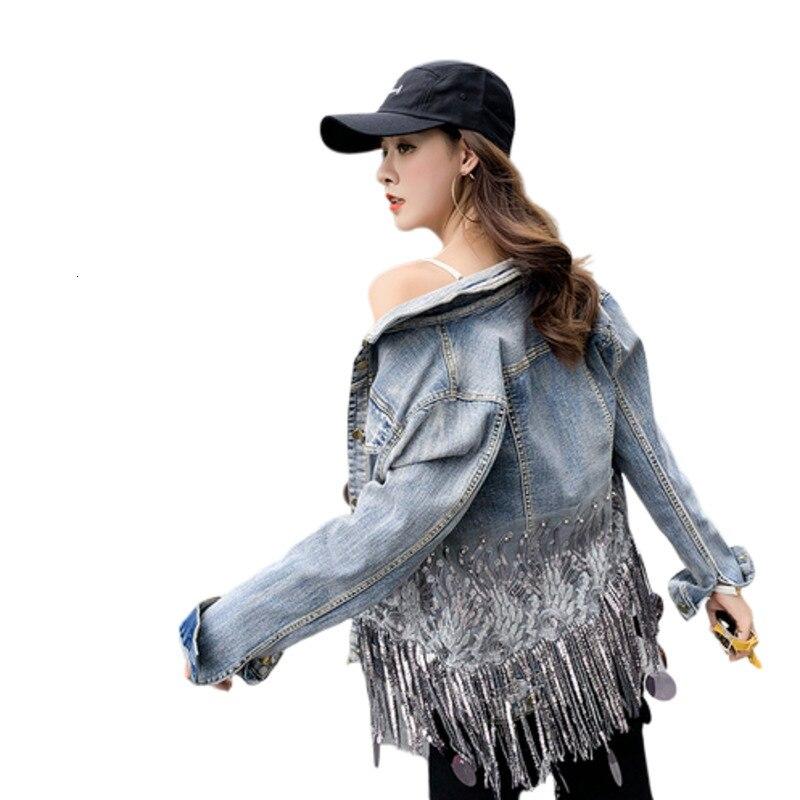 Autumn Denim   Jacket   Women Befree Harajuku Chaqueta Mujer Veste Femme Tassels Sequins Riverdale Bts Streetwear   Basic     Jackets