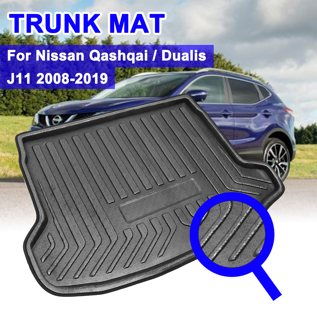 Rear Cargo Boot Liner Trunk Floor Mat Tray Carpet Mats Mud Kick Car Accessories For Nissan Qashqai Dualis J11 2008-2019
