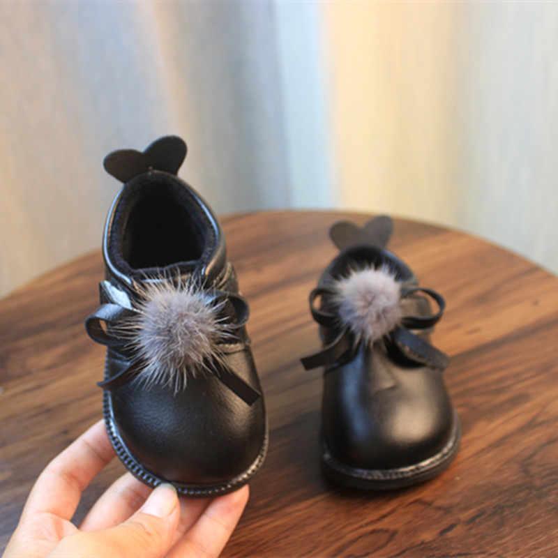 Kızlar prenses yarım çizmeler hakiki deri peluş kısa Botas yay düğüm kürk sıcak çocuk kış ayakkabı kış ayakkabı 6-18M