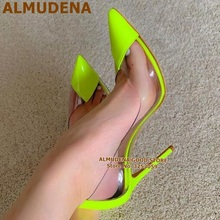 ALMUDENA Lime Green Patchwork High Heel Shoes Transparent PV
