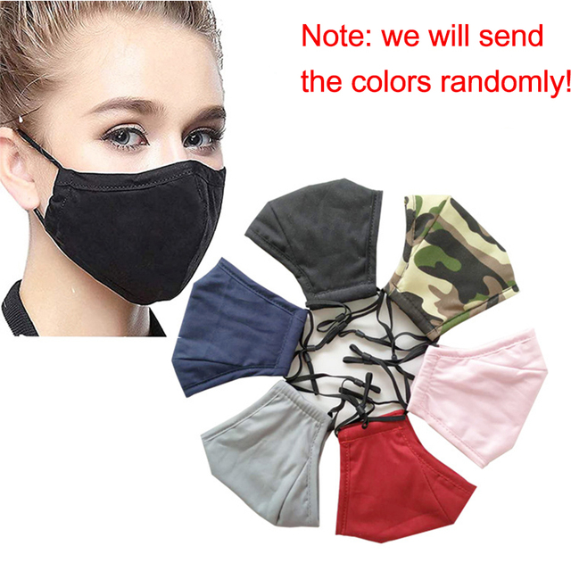 5pcs Cotton Mask Mouth Mask Face Mask Washable Reusable Anti PM2.5 Anti-Dust Masks with 10pcs Activated Carbon Filter Fabric 4