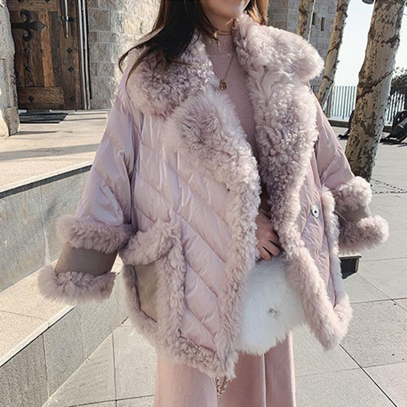 Elegant Pink Fur Collar Winter Jacket Women 2019 wool lambswool Thicken Parkas Warm Down Cotton Winter Coat Long Female Outwear
