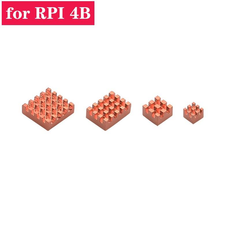 Raspberry Pi 4 Heat Sink 4pcs Cooper Cooling Kit Heat Dissipation Radiator Heat Sink For Raspberry Pi 4 Model B Pi 4B
