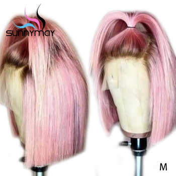 Sunnymay 13x4 Bob Wigs Pre Plucked Lace Front Human Hair Wig 130% Short Straight Lace Front Wig Pink Color Ombre Remy Human Wigs - DISCOUNT ITEM  67% OFF All Category