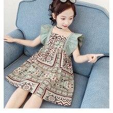 Girls' dress summer dress 2020 new national style children's dress middle and big children's sling p