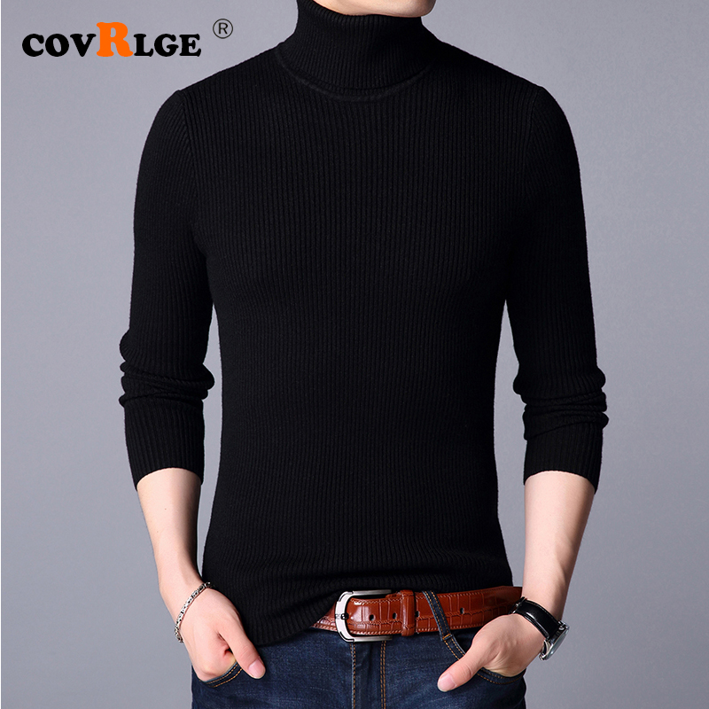 Covrlge Male Warm Sweater Pullover Slim Solid High Lapel Jacquard Hedging British 2019 Men's Clothing Mens Turtleneck MZM048