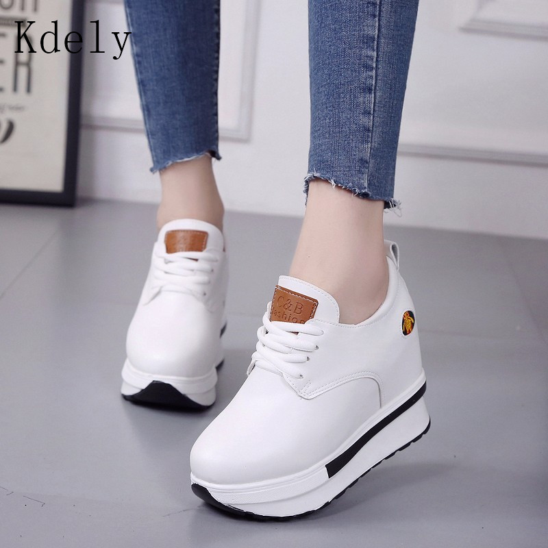 Vulcanized Wedges Shoes Women High Top Sneakers Women Platform Ankle Boots Basket Femme Chaussures Femmes Height Increase Shoes