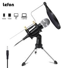 Lefon 녹음 콘덴서 마이크 휴대 전화 마이크 Microfone 컴퓨터에 대 한 안 드 로이드에 대 한 가라오케 마이크 홀더 3.5mm 플러그