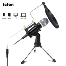 Lefon Recording Condenser Microphone Mobile Phone Microphone Microfone For Computer Pc Karaoke Mic Holder For Android 3.5mm plug
