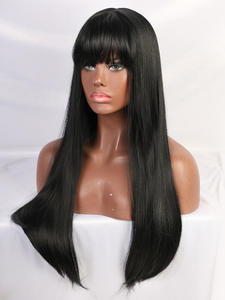 Straight Wig Bangs-Hair Heat-Resistant-Fiber Cosplay Black Long Women with Synthetic