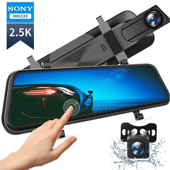 "VanTop H610 10"" 2.5K Mirror Dash Cam for Cars Full Touch Screen Waterproof Backup Camera Parking Monitor Rear View Mirror Camera 1"