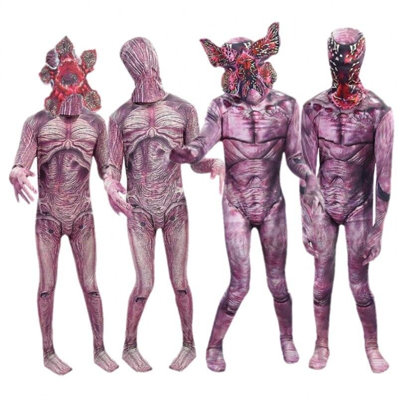 Bodysuit Stranger Things Demogorgon Cosplay Halloween Party Costume The Monster Jumpsuit Mask