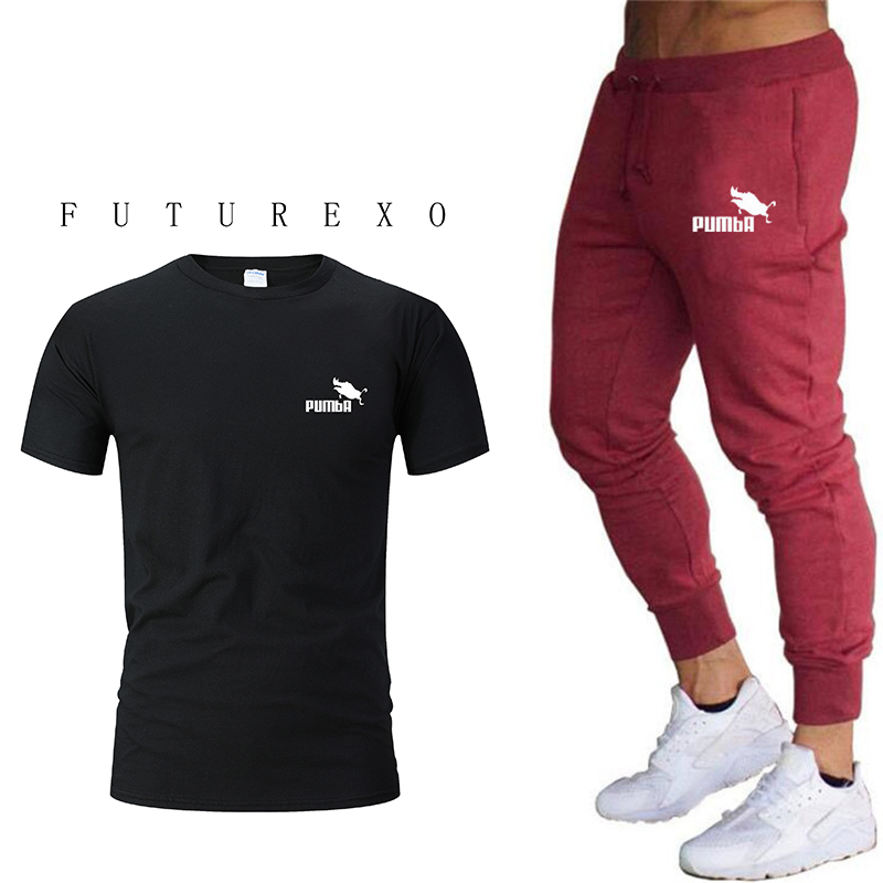 New Hot Sale 100% Cotton Short Sleeve Sports Suit + Sports Pants Running Football Training Sports Suit