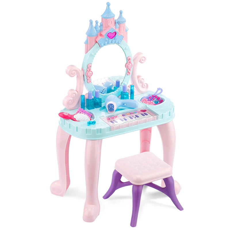 H1 Children's Dressing Table House Toy Princess Cosmetics Girl Birthday Gift 3-6 Years 7 Set  Plastic Pink For Children Cheap