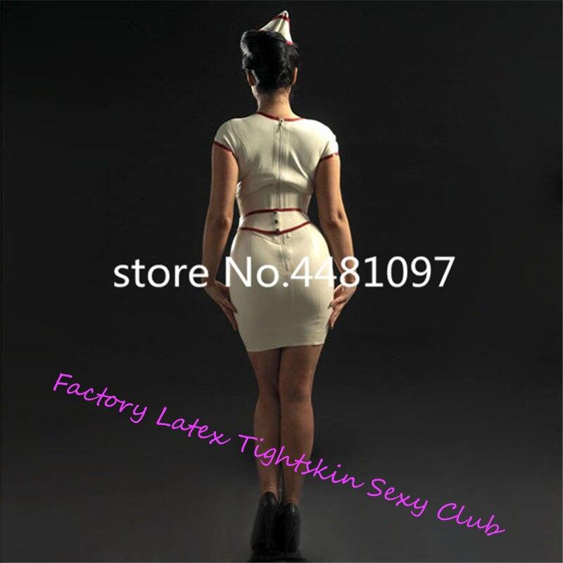 Sexy Latex caoutchouc blanc infirmière robe avec tablier Latex uniforme ensemble (pas de casquette) sexy halloween costumes sur mesure - 3